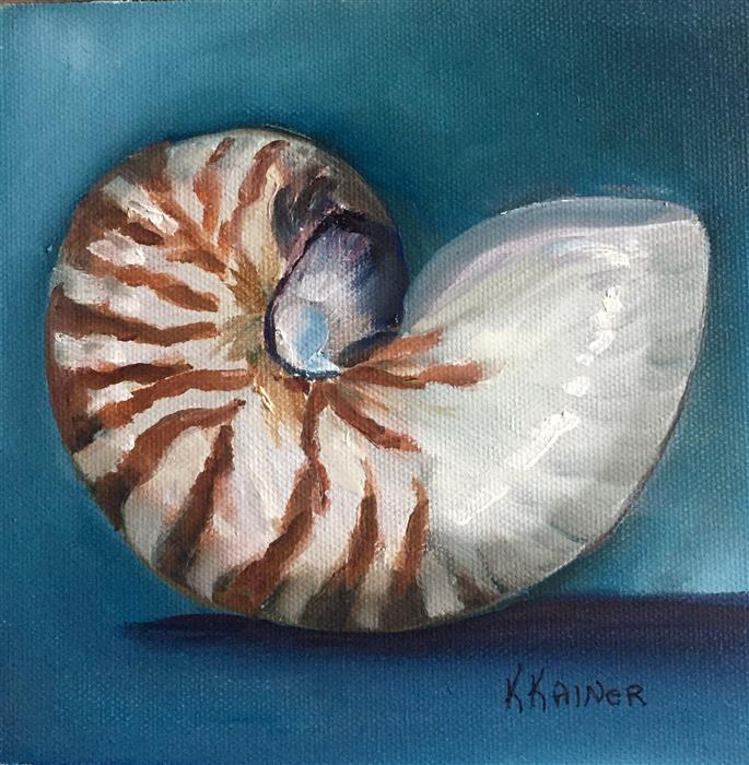 Original art for sale at UGallery.com | Nautilus on Turquoise by Kristine Kainer | $325 | oil painting | 6' h x 6' w | ..\art\oil-painting-Nautilus-on-Turquoise