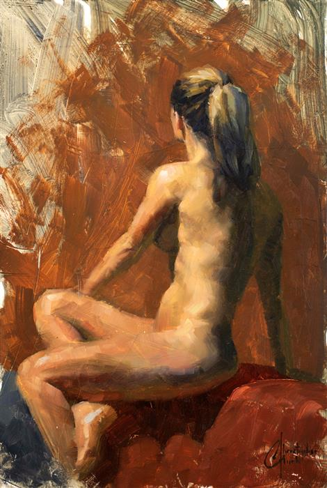 Original art for sale at UGallery.com | Nude 2, Rebecca by CHRISTOPHER CLARK | $475 |  | 16' h x 11' w | ..\art\oil-painting-Nude-2-Rebecca