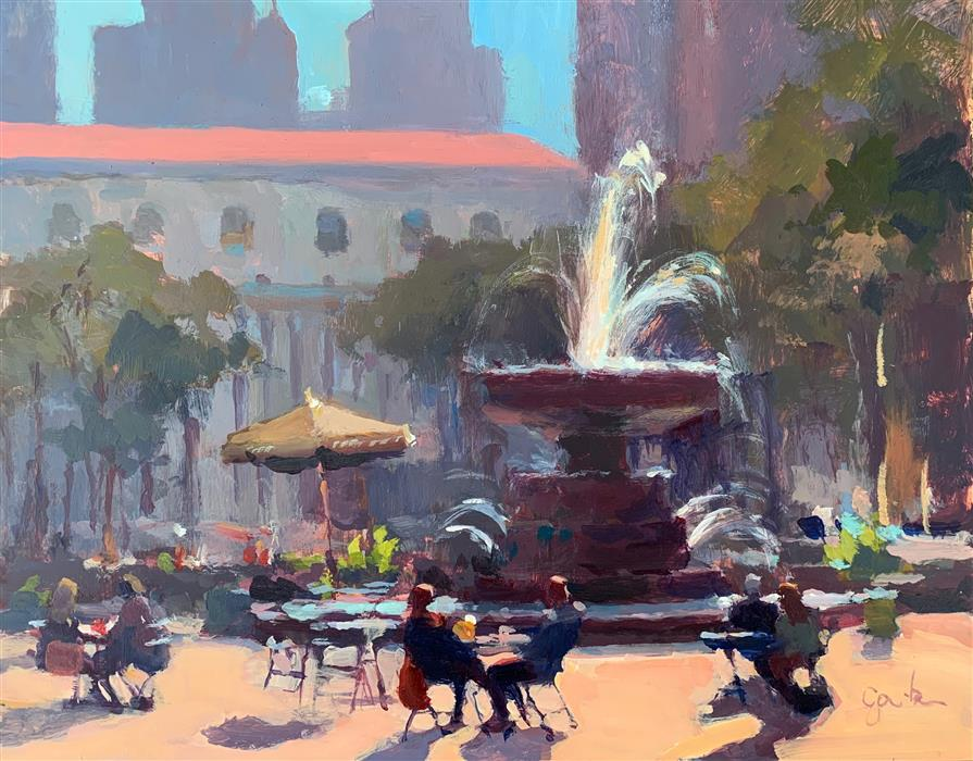 Original art for sale at UGallery.com | Bryant Park Morning by George Scribner | $625 | acrylic painting | 8' h x 10' w | ..\art\acrylic-painting-Bryant-Park-Morning