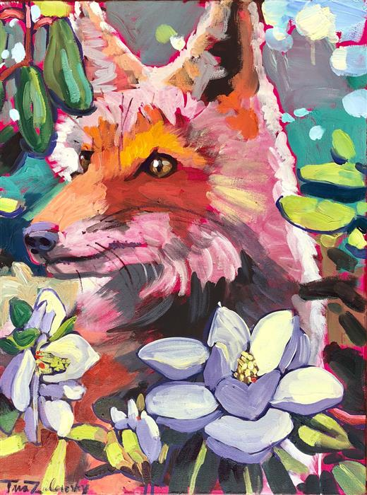 Original art for sale at UGallery.com | Magnolia Fox by Tara Zalewsky-Nease | $800 | oil painting | 24' h x 18' w | ..\art\oil-painting-Magnolia-Fox