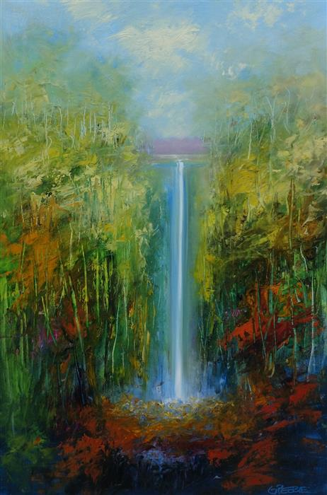 Original art for sale at UGallery.com | Waterfall by George Peebles | $1,375 | oil painting | 36' h x 24' w | ..\art\oil-painting-Waterfall-64875