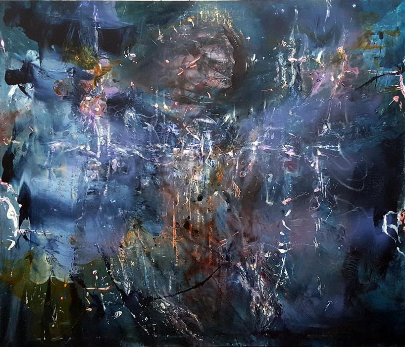 Original art for sale at UGallery.com | Angel Spiritual Gestural by Kloska Ovidiu | $3,200 | acrylic painting | 52' h x 60' w | ..\art\acrylic-painting-Angel-Spiritual-Gestural