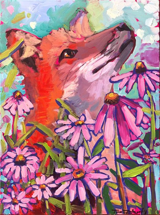 Original art for sale at UGallery.com | Flower Fox by Tara Zalewsky-Nease | $800 | oil painting | 24' h x 18' w | ..\art\oil-painting-Flower-Fox