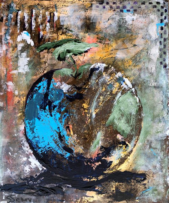 Original art for sale at UGallery.com | Blue Apple by Sharon Sieben | $700 | acrylic painting | 24' h x 20' w | ..\art\acrylic-painting-Blue-Apple