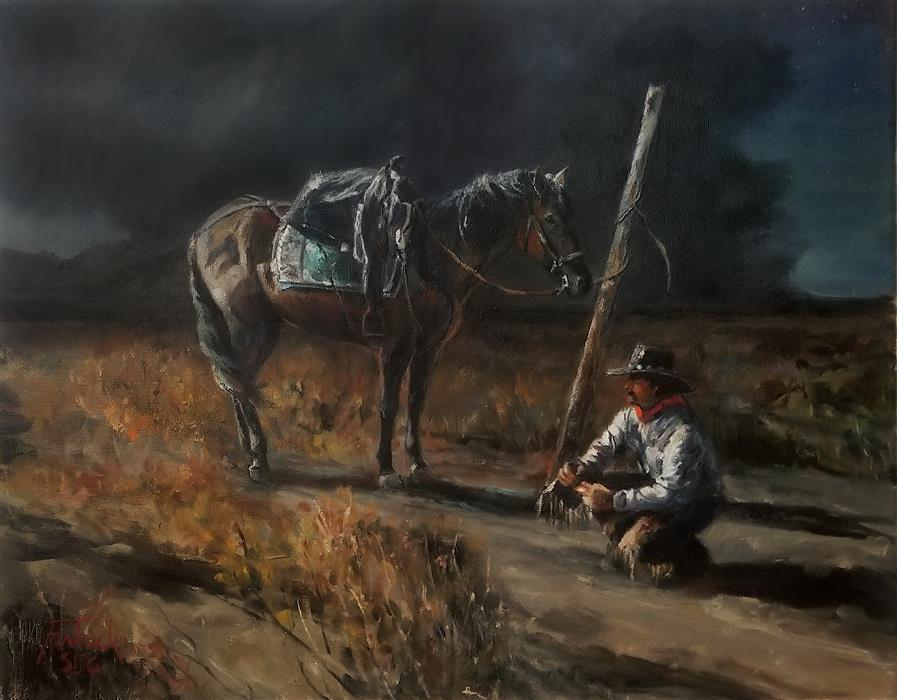Original art for sale at UGallery.com | Rolling a Quirly by Jan Fontecchio Perley | $1,300 | oil painting | 16' h x 20' w | ..\art\oil-painting-Rolling-a-Quirly