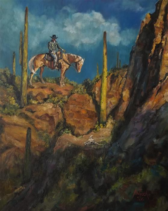 Original art for sale at UGallery.com | An Old Stray by Jan Fontecchio Perley | $1,675 | oil painting | 30' h x 20' w | ..\art\oil-painting-An-Old-Stray