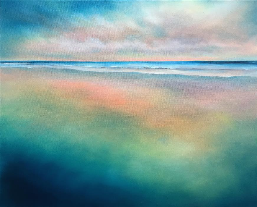 Original art for sale at UGallery.com | Shoreline Light by Nancy Hughes Miller | $900 | oil painting | 16' h x 20' w | ..\art\oil-painting-Shoreline-Light