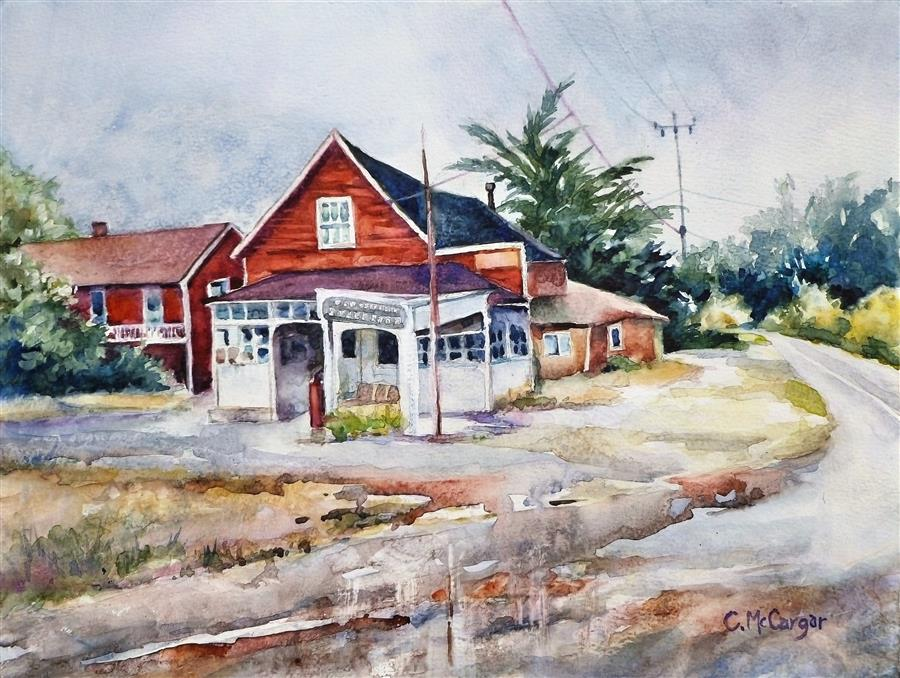 Original art for sale at UGallery.com | Coastal Stage Stop in San Gregorio by Catherine McCargar | $650 | watercolor painting | 12' h x 16' w | ..\art\watercolor-painting-Coastal-Stage-Stop-in-San-Gregorio