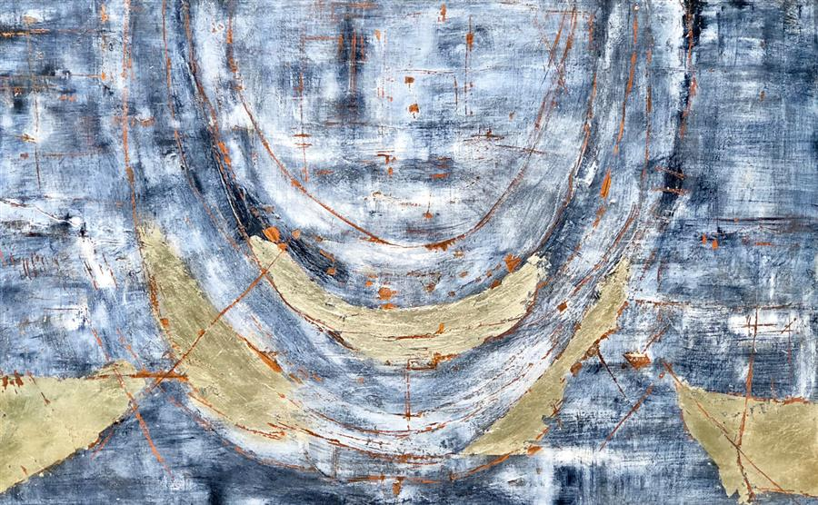 Original art for sale at UGallery.com | Under The Breast: Silver by Maya Malioutina | $3,500 | mixed media artwork | 30' h x 48' w | ..\art\mixed-media-artwork-Under-The-Breast-Silver