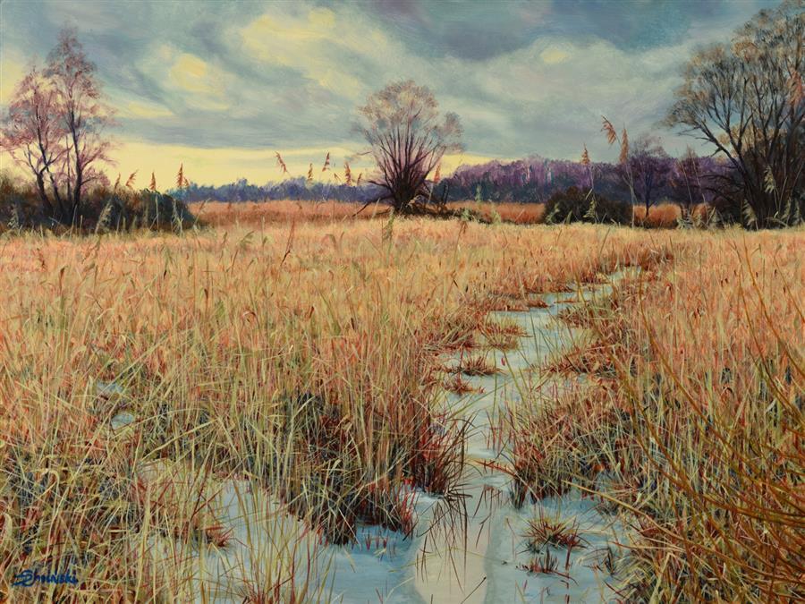 Original art for sale at UGallery.com | Forgotten Pond by Dariusz Choinski | $925 | oil painting | 12' h x 16' w | ..\art\oil-painting-Forgotten-Pond