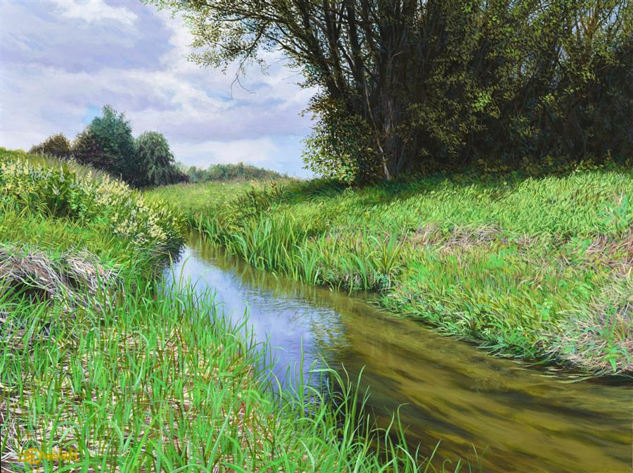 Original art for sale at UGallery.com | Pisia River in Summer by Dariusz Choinski | $925 | oil painting | 12' h x 16' w | ..\art\oil-painting-Pisia-River-in-Summer