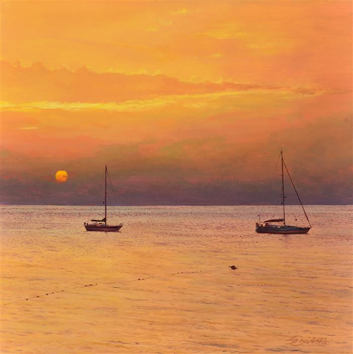 Original art for sale at UGallery.com | Sunset with Yachts by Dariusz Choinski | $725 | oil painting | 12' h x 12' w | ..\art\oil-painting-Sunset-with-Yachts