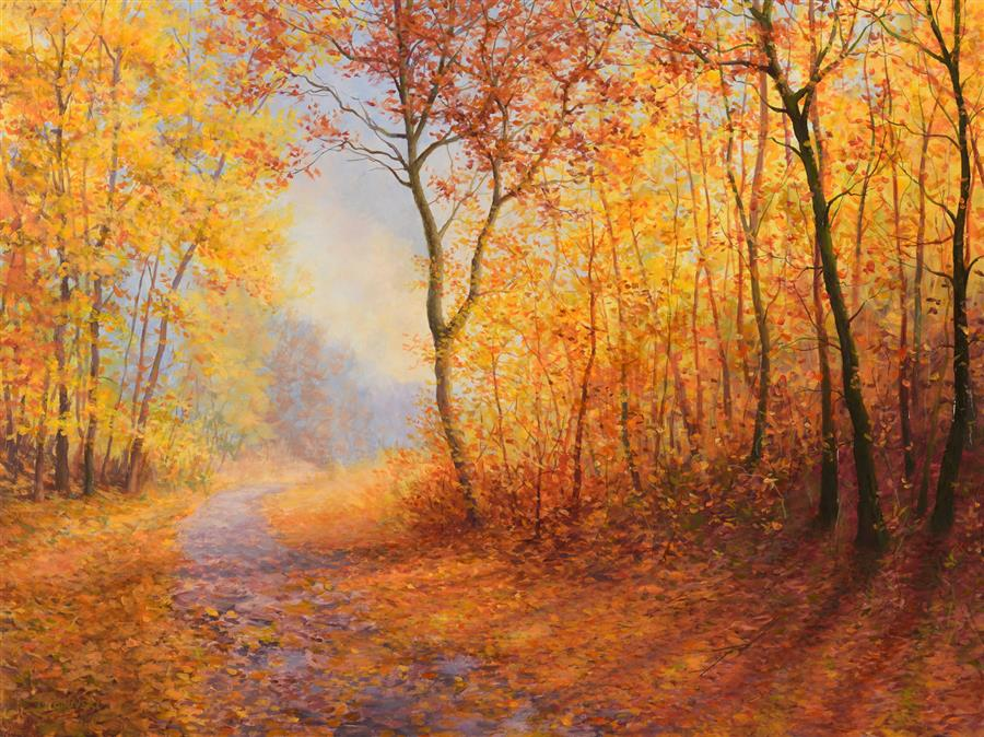 Original art for sale at UGallery.com | The Memory of Autumn by Dariusz Choinski | $925 | oil painting | 12' h x 16' w | ..\art\oil-painting-The-Memory-of-Autumn