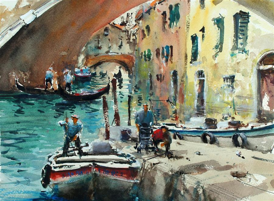 Original art for sale at UGallery.com | Venice Canals by Maximilian Damico | $600 | watercolor painting | 11' h x 15' w | ..\art\watercolor-painting-Venice-Canals