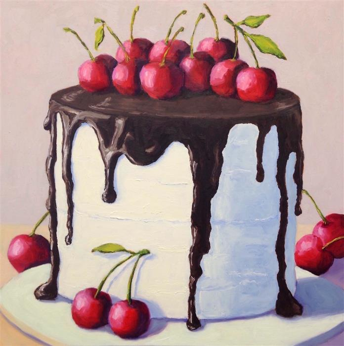 Original art for sale at UGallery.com | Chocolate Cherry Cake by Pat Doherty | $975 | oil painting | 18' h x 18' w | ..\art\oil-painting-Chocolate-Cherry-Cake