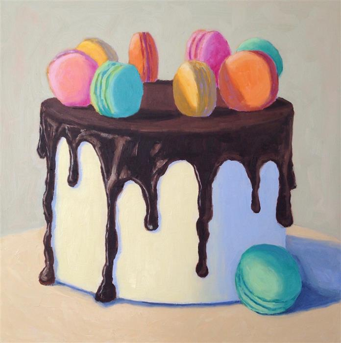 Original art for sale at UGallery.com | Chocolate Macaron Cake by PAT DOHERTY | $1,300 |  | 18' h x 18' w | ..\art\oil-painting-Chocolate-Macaron-Cake