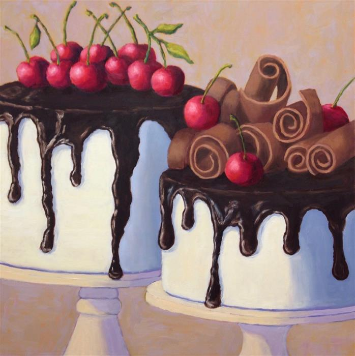 Original art for sale at UGallery.com | Tuxedo Cakes by Pat Doherty | $1,500 | oil painting | 24' h x 24' w | ..\art\oil-painting-Tuxedo-Cakes