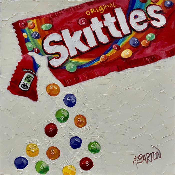 Original art for sale at UGallery.com | Skittles Delight by Karen Barton | $375 | oil painting | 8' h x 8' w | ..\art\oil-painting-Skittles-Delight