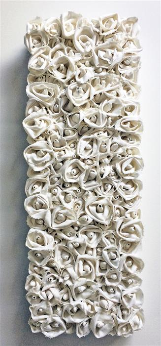 Original art for sale at UGallery.com | Snowy Whites by Andrea Cook | $675 | fiber artwork | 24' h x 12' w | ..\art\fiber-artwork-Snowy-Whites