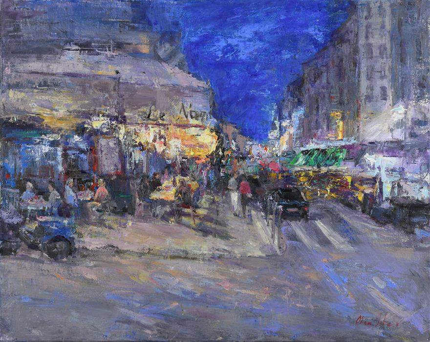 Original art for sale at UGallery.com | Evening on Montmartre by OKSANA JOHNSON | $1,325 |  | 16' h x 20' w | ..\art\oil-painting-Evening-on-Montmartre