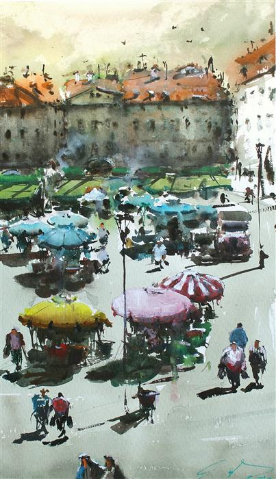 Original art for sale at UGallery.com | Daily Market by Maximilian Damico | $600 | watercolor painting | 13.5' h x 9' w | ..\art\watercolor-painting-Daily-Market