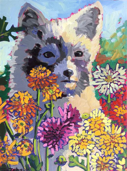 Original art for sale at UGallery.com | Chrysanthemum Fox by Tara Zalewsky-Nease | $800 | oil painting | 24' h x 18' w | ..\art\oil-painting-Chrysanthemum-Fox
