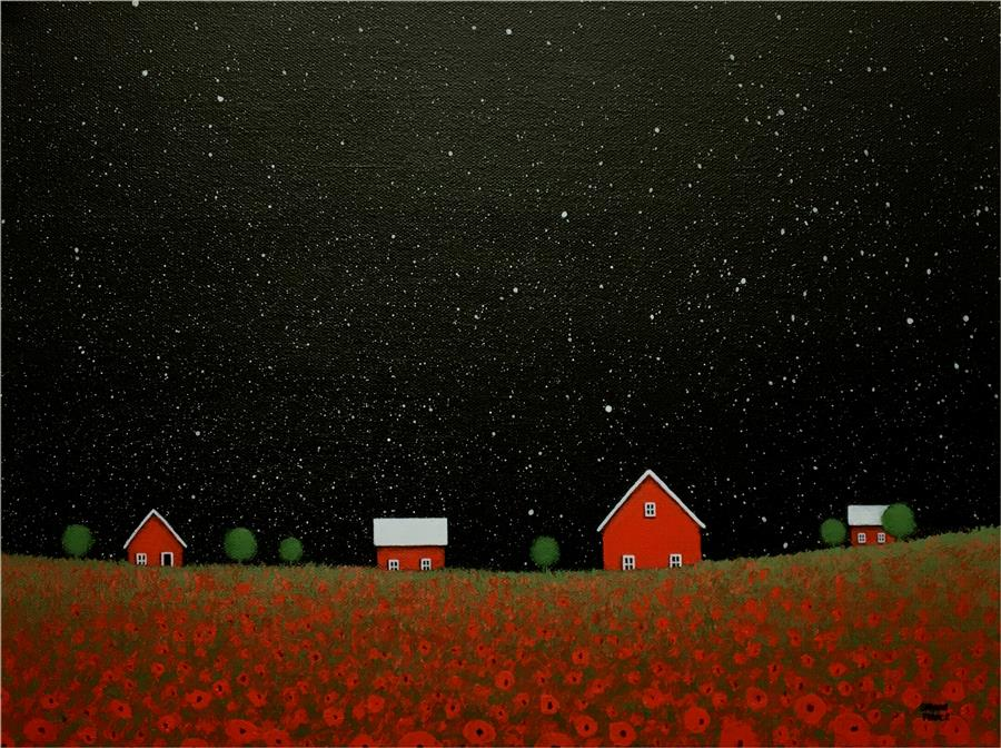 Original art for sale at UGallery.com | Night Sky over the Poppy Farm by SHARON  FRANCE | $725 |  | 12' h x 16' w | ..\art\acrylic-painting-Night-Sky-over-the-Poppy-Farm