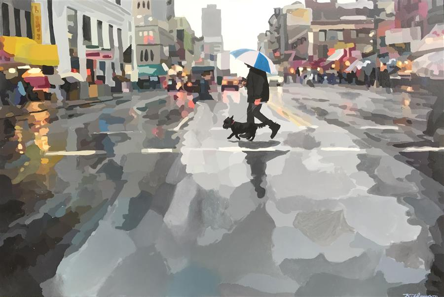 Original art for sale at UGallery.com | It's Always Sunny on His Walk by Keith Thomson | $2,300 | mixed media artwork | 30' h x 45' w | ..\art\mixed-media-artwork-It-s-Always-Sunny-on-His-Walk