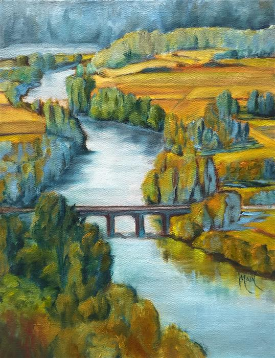 Original art for sale at UGallery.com | Dordogne River by Mandy Main | $525 | oil painting | 14' h x 11' w | ..\art\oil-painting-Dordogne-River