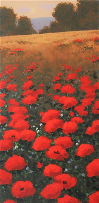 Original art for sale at UGallery.com | Bright Red Poppies by Robert Pennor | $975 | acrylic painting | 36' h x 18' w | ..\art\acrylic-painting-Bright-Red-Poppies