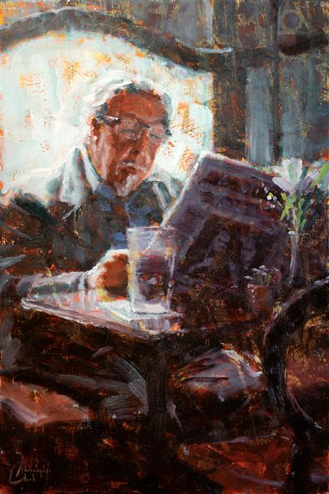 Original art for sale at UGallery.com | Morning Paper in the Pub by Christopher Clark | $575 | oil painting | 18' h x 12' w | ..\art\oil-painting-Morning-Paper-in-the-Pub