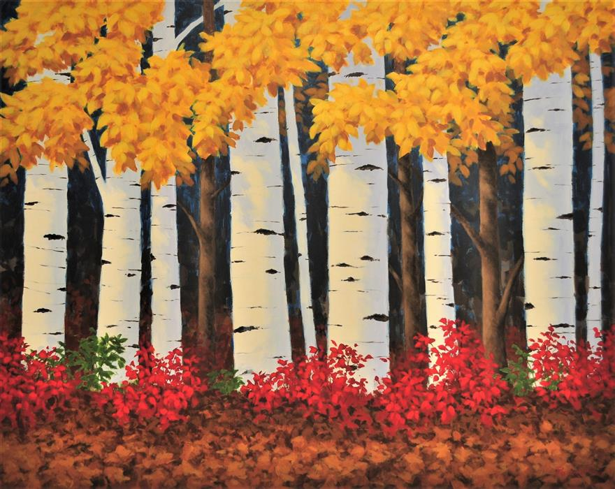 Original art for sale at UGallery.com | Sunlit Aspens by Robert Pennor | $3,875 | acrylic painting | 48' h x 60' w | ..\art\acrylic-painting-Sunlit-Aspens