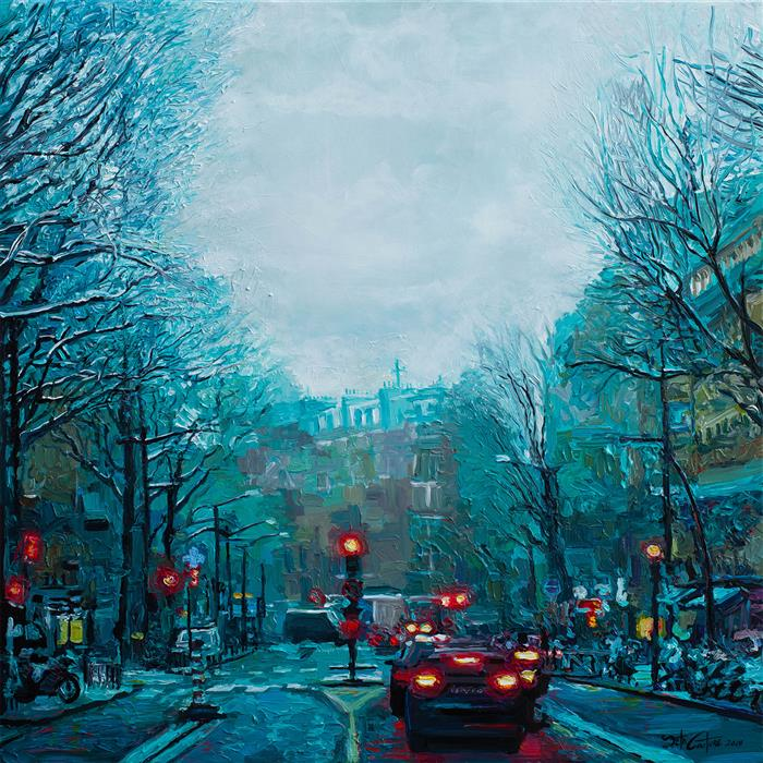 Original art for sale at UGallery.com | Boulevard Barbes, A Winter Morning in Paris by SETH COUTURE | $2,650 |  | 36' h x 36' w | ..\art\acrylic-painting-Boulevard-Barbes-A-Winter-Morning-in-Paris