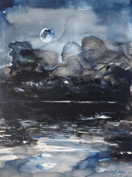Original art for sale at UGallery.com | The Ink Mist Settles by Tiffany Blaise | $525 | mixed media artwork | 16' h x 12' w | ..\art\mixed-media-artwork-The-Ink-Mist-Settles