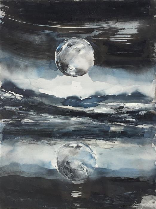 Original art for sale at UGallery.com | Moon Mirror by Tiffany Blaise | $525 | oil painting | 16' h x 12' w | ..\art\oil-painting-Moon-Mirror