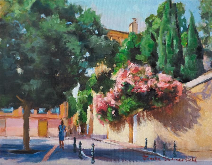 Original art for sale at UGallery.com | A Walk in Aix by JONELLE SUMMERFIELD | $525 |  | 11' h x 14' w | ..\art\oil-painting-A-Walk-in-Aix