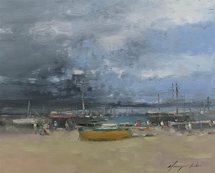 Original art for sale at UGallery.com | Old Harbor by Vahe Yeremyan | $600 | oil painting | 16' h x 20' w | ..\art\oil-painting-Old-Harbor