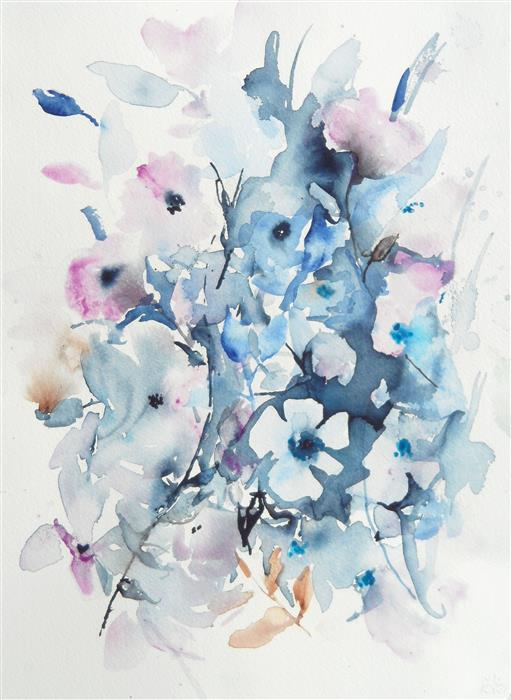 Original art for sale at UGallery.com | Winter Blooms by Karin Johannesson | $600 | watercolor painting | 16' h x 12' w | ..\art\watercolor-painting-Winter-Blooms