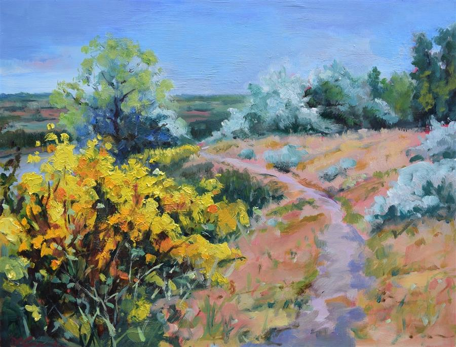 Original art for sale at UGallery.com | Winding Trail by Mickey Cunningham | $475 | oil painting | 9' h x 12' w | ..\art\oil-painting-Winding-Trail