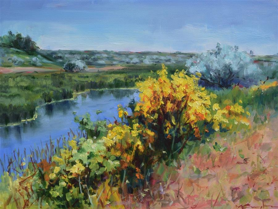 Original art for sale at UGallery.com | River Bend by Mickey Cunningham | $475 | oil painting | 9' h x 12' w | ..\art\oil-painting-River-Bend