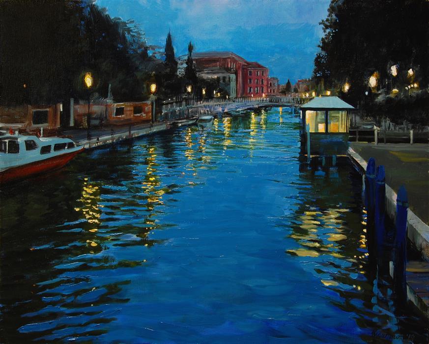 Original art for sale at UGallery.com | Dusk over Rio Novo, Venice by Onelio Marrero | $900 | oil painting | 16' h x 20' w | ..\art\oil-painting-Dusk-over-Rio-Novo-Venice