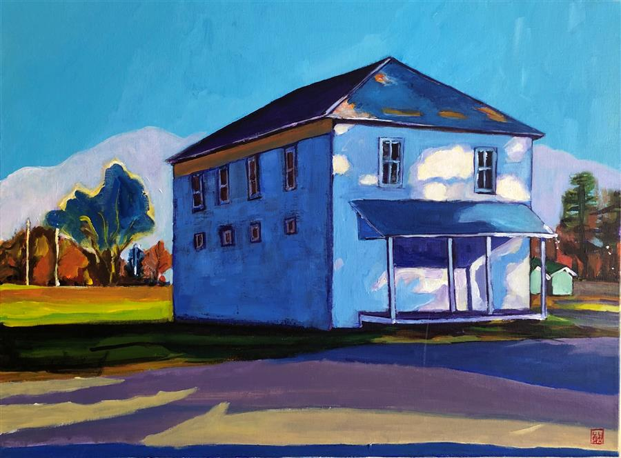 Original art for sale at UGallery.com | Moody Blue House by LAURA (YI ZHEN) CHEN | $775 |  | 18' h x 24' w | ..\art\acrylic-painting-Moody-Blue-House