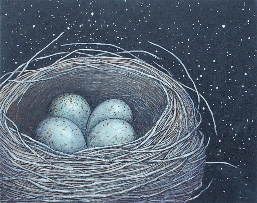 Original art for sale at UGallery.com | The Blackbird's Nest by Jennifer Ross | $700 | mixed media artwork | 16' h x 20' w | ..\art\mixed-media-artwork-The-Blackbird-s-Nest