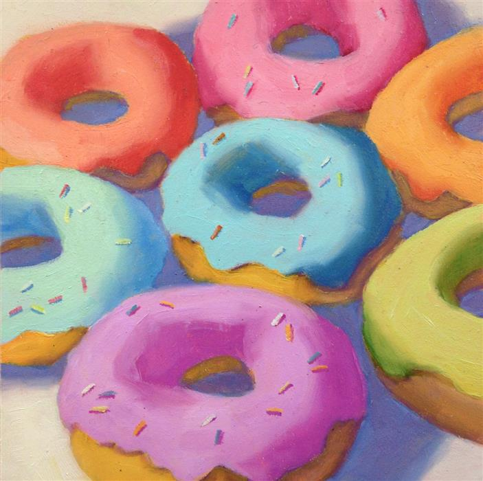 Original art for sale at UGallery.com | Donuts by Pat Doherty | $225 | oil painting | 6' h x 6' w | ..\art\oil-painting-Donuts