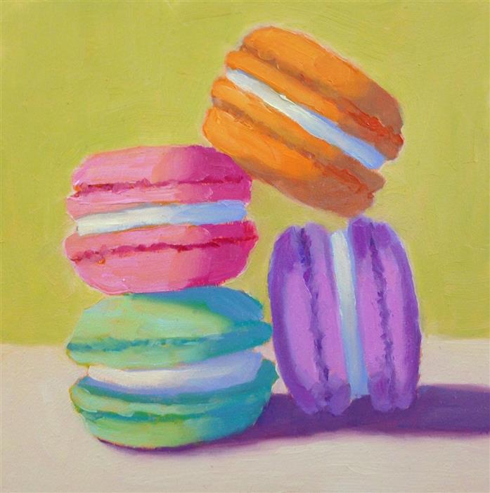 Original art for sale at UGallery.com | Four Macarons by Pat Doherty | $225 | oil painting | 6' h x 6' w | ..\art\oil-painting-Four-Macarons