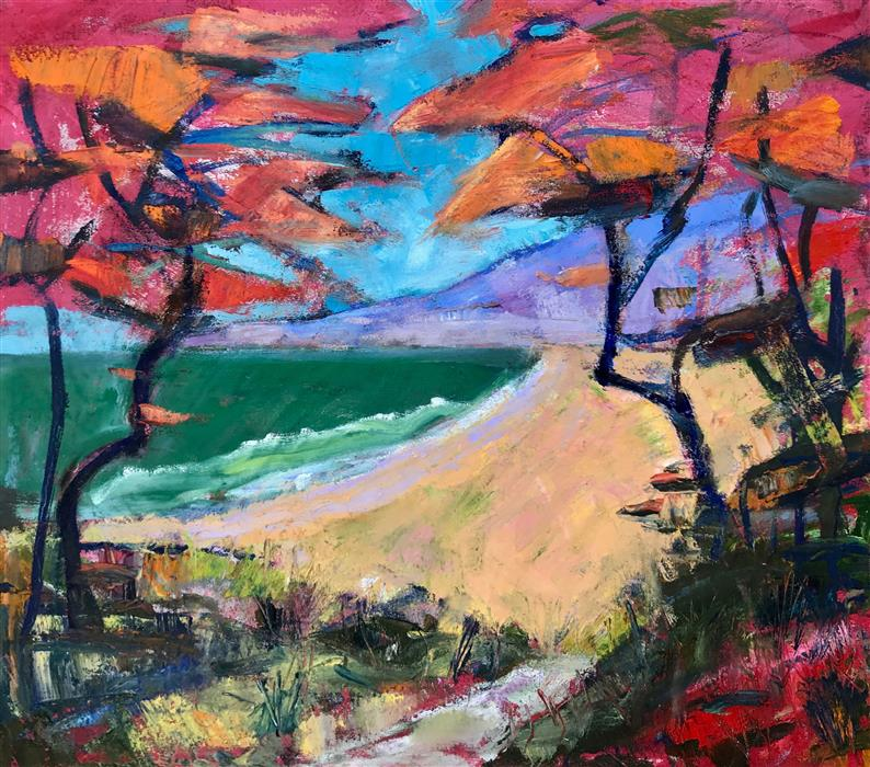 Original art for sale at UGallery.com | Beach Path by James Hartman | $1,225 | oil painting | 22' h x 25' w | ..\art\oil-painting-Beach-Path