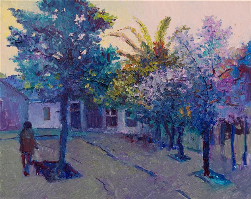 Original art for sale at UGallery.com | Purple Evening in California by Suren Nersisyan | $525 | oil painting | 16' h x 20' w | ..\art\oil-painting-Purple-Evening-in-California