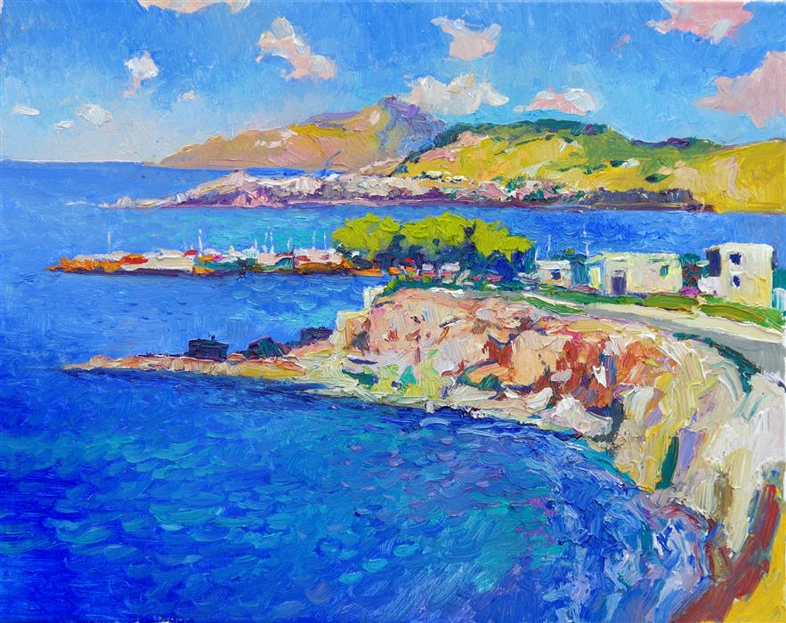 Original art for sale at UGallery.com | The Blue of the Aegean Sea, Greece by Suren Nersisyan | $575 | oil painting | 16' h x 20' w | ..\art\oil-painting-The-Blue-of-the-Aegean-Sea-Greece