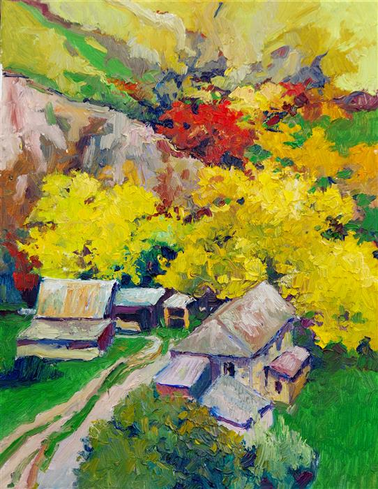 Original art for sale at UGallery.com | Fall in the Gorge in Colorado by Suren Nersisyan | $625 | oil painting | 20' h x 16' w | ..\art\oil-painting-Fall-in-the-Gorge-in-Colorado