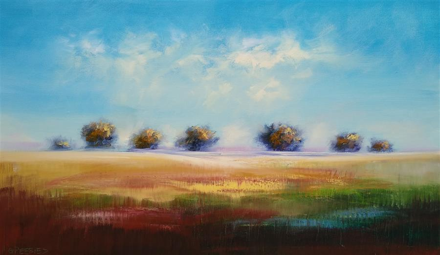 Original art for sale at UGallery.com | Woodland Hills by George Peebles | $4,400 | oil painting | 36' h x 60' w | ..\art\oil-painting-Woodland-Hills